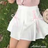 夏裝女裝韓版少女小清新綁帶百褶裙高腰學生顯瘦短裙A字裙半身裙   蜜拉貝爾