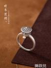 戒指 S925純銀戒指女復古佛教六字真言可轉動轉經輪本命年護身轉運指環 韓菲兒