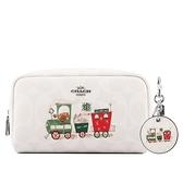 【COACH】PVC Logo 火車圖案化妝包+鏡子吊飾禮盒組(白色) C1751 SVRFI