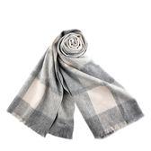 美國正品 COACH 簡約格紋寬版羊毛圍巾-米/灰【現貨】