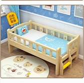 嬰兒床 兒童床帶護欄男孩女孩公主單人床實木小邊床嬰兒加寬床拼接床大床推薦150*80四面尾梯