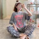 日系可愛灰色小熊女夏季睡衣2021新款短袖長褲純棉寬鬆學生家居服「時尚彩紅屋」