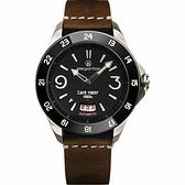 elegantsis x CafeRacer 經典復古機械錶-黑x咖啡/44mm ELJR65AS-C1NB2L