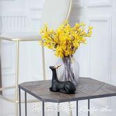 黃色迎春花套裝仿真花客廳擺件飾品裝飾花瓶樣板間觀賞絹花假花igo瑪麗蓮安