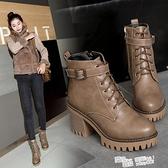 靴子2021秋季新款防水台英倫風馬丁靴女春秋單靴厚底粗跟高跟短靴 夏季新品