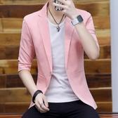 男士夏季薄款西服男七分袖單西外套潮修身男裝韓版休閒中袖小西裝