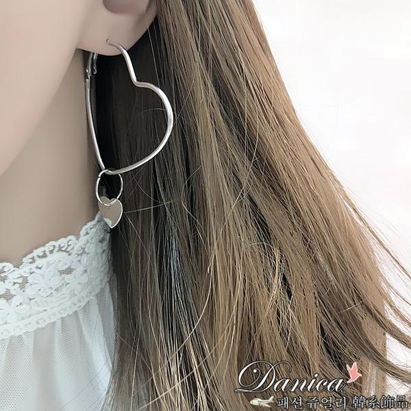 現貨不用等 韓國氣質簡約百搭金屬感幾何愛心垂墜耳環 S93232 批發價 Danica 韓系飾品 韓國連線
