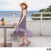 《DA5590》幾何印花拼接魚尾裙擺細肩帶雪紡長洋裝 OrangeBear