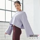 Mollifix 瑪莉菲絲 隨性風格抽袖短版上衣 (紫)