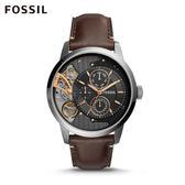 FOSSIL Townsman 深褐色多功能皮革手錶 男 ME1163