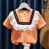 女童T恤2021夏裝新款花邊圓領短袖上衣兒童3-5寶寶歲套頭打底衫潮 幸福第一站