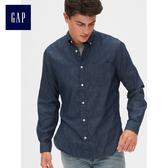 Gap男裝 純棉休閒長袖牛仔襯衫 490408-藏青色