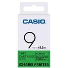 CASIO 標籤機專用螢光色色帶-9mm【螢光綠底黑字XR-9FGN】