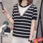 棉珠釦條紋拼接蕾絲上衣 XL~4XL【205348W】【現+預】-流行前線-