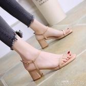 韓版時尚露趾中跟高跟鞋晚晚同款百搭一字帶粗跟涼鞋女夏   歌莉婭