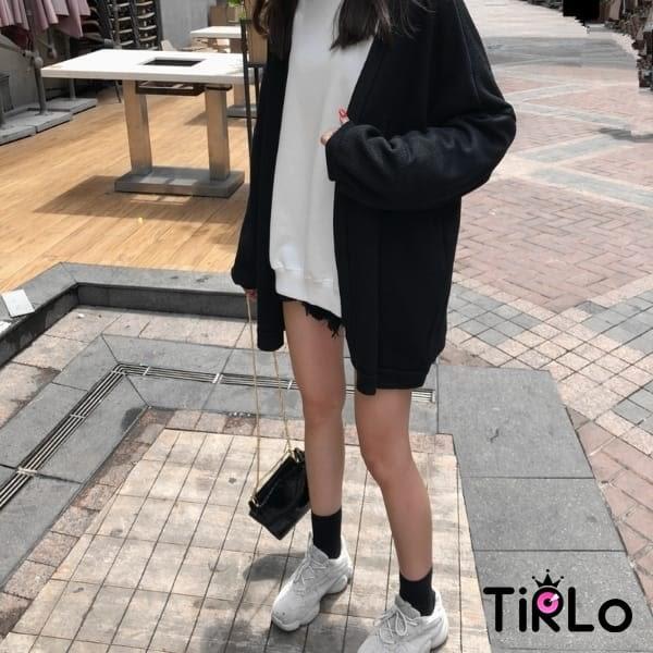 針織外套 -Tirlo-落肩坑紋開襟針織外套-兩色(現+追加預計5-7工作天出貨)