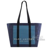 【新進品牌 獨家價】MARC JACOBS 馬克賈伯 經典LOGO帆布肩背大托特包.藍