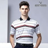 范倫鐵諾都會休閒涼感POLO衫 - 紅白灰