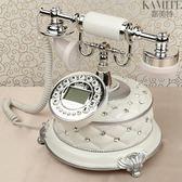歐式仿古電話機座機美式電話機賓館家用白色固定辦公古董復古電話igo   蜜拉貝爾