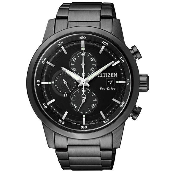 【時間道】 [CITIZEN。星辰]金城武代言 太陽能三眼腕錶 / 黑面黑鋼 (CA0615-59E)免運費