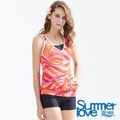 【Summer Love 夏之戀】加大碼幾何印花長版兩件式泳衣(S18706)