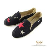Paidal 黑色丹寧海洋風拓印海錨休閒鞋