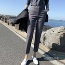 九分西褲女西裝褲女修身直筒灰色小腳褲職業上班工作褲正裝褲子女「時尚彩紅屋」