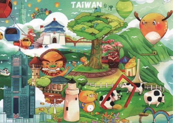 【收藏天地】台灣紀念品*明信片-TAiWAN /文創 手帳 文具 禮品 小物 手冊