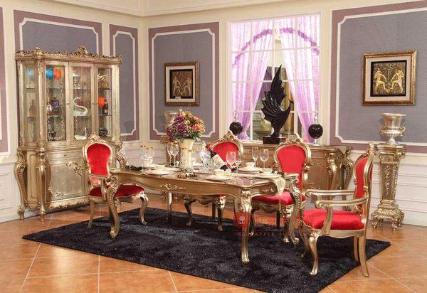 [紅蘋果傢俱] GT-012 宮廷‧凡爾賽系列 頂級進口 歐式 法式 金箔雕花 長餐桌 餐桌椅