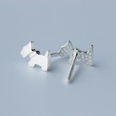 925純銀耳環(耳針式)-可愛狗狗生日情人節禮物女飾品73dr85[時尚巴黎]