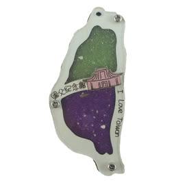 【收藏天地】台灣紀念品*寶島造型夜光木質冰箱貼-國父紀念館