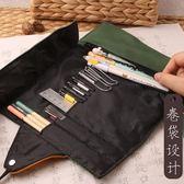 簡約復古卷簾式筆袋男鉛筆盒大容量卷筆袋