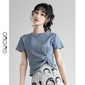 短袖t恤女設計感小眾夏季百搭高腰修身短款上衣女ins潮【小酒窩】