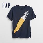 Gap男童 趣味互動圓領T恤 855014-藏青色