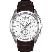 TISSOT 天梭 T-Trend 三眼計時手錶-白/皮帶 T0356171603100