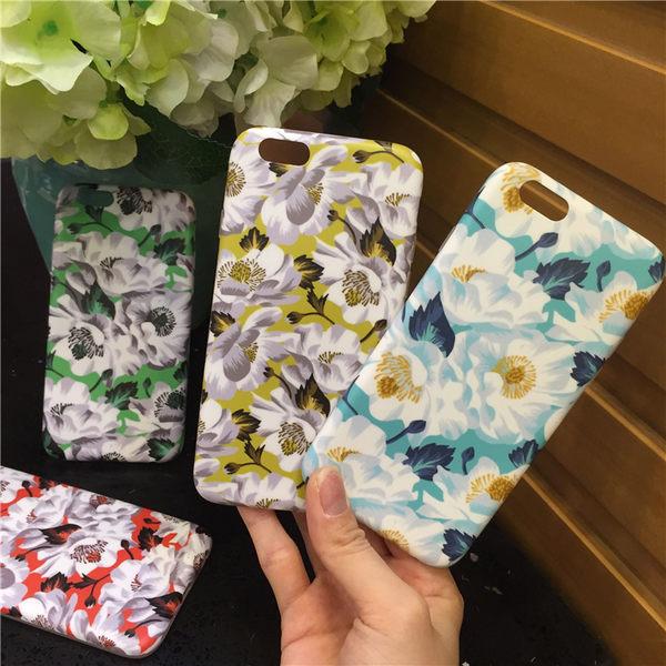 【SZ】iPhone 6S 手機殼 彩繪小清新花朵磨砂手感全包軟殼 iPhone 6手機殼 i6S PLUS手機殼