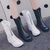短靴 英倫風馬丁靴女2019新款秋季復古guidi短靴前拉?倒靴百搭機車靴【快速出貨】