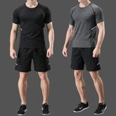 健身服短袖男速干透氣訓練健身跑步運動套裝夏季薄款衣服吸汗t恤