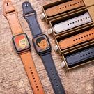 適用 Apple Watch6/1/2/3/4/5 代 watch 6 SE 錶帶 皮革皮質腕帶 40/44/42/38mm 手錶帶 替換帶