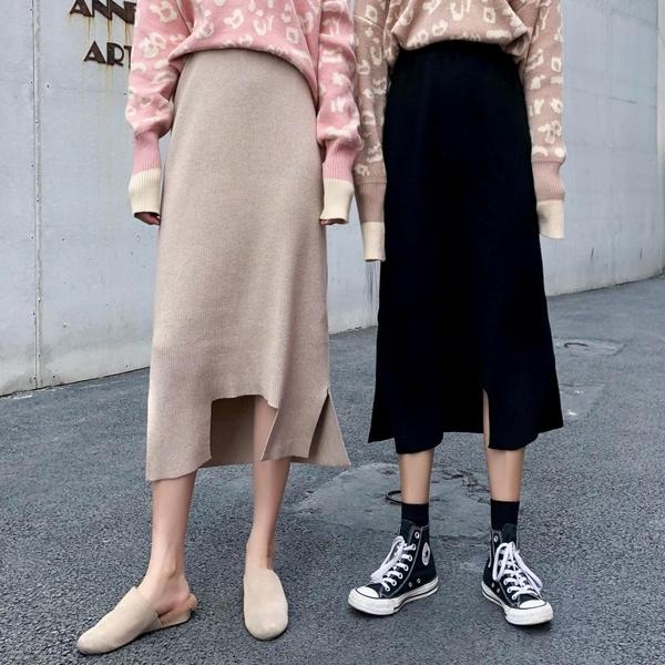 VK旗艦店 韓國風針織半身裙高腰顯瘦直筒開叉單品長裙
