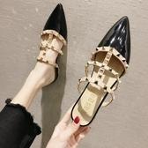 拖鞋女新款夏季鉚釘半拖鞋尖頭粗跟包頭穆勒鞋ins潮網紅涼拖