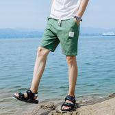五分褲 抽繩休閒短褲男五分褲韓版潮流沙灘褲寬鬆大褲衩運動褲男【韓國時尚週】