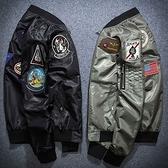 空軍夾克 MA1-帥氣時尚美式徽章飛行員男軍裝外套2色73pf6[巴黎精品]