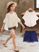 女童夏裝2019新款時髦短袖短褲套裝中大兒童韓版洋氣潮衣兩件套夏滿天星