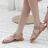 平底涼鞋 民族風復古羅馬鞋女新款學生顯瘦百搭沙灘鞋防滑軟底平底涼鞋