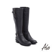 A.S.O 保暖靴  百搭真皮釦飾拉鍊長靴  黑