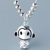 925純銀項鍊-小猴子造型時尚可愛百搭銀飾女墜飾73y76[巴黎精品]