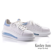 Keeley Ann我的日常生活 俏皮韓系氣墊全真皮休閒鞋(藍色) -Ann系列