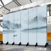 新中式屏風隔斷玄關時尚酒店臥室現代簡約辦公室水墨裝飾折疊布藝QM『艾麗花園』