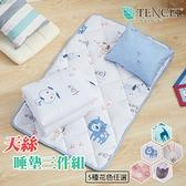 (現貨)天絲材質 專利吸濕排汗夏季涼被睡墊童枕3件組 嬰兒床墊 睡袋【附提袋】-萌狗